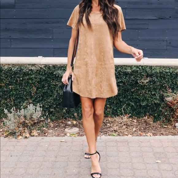Brown Suede T-Shirt Dress